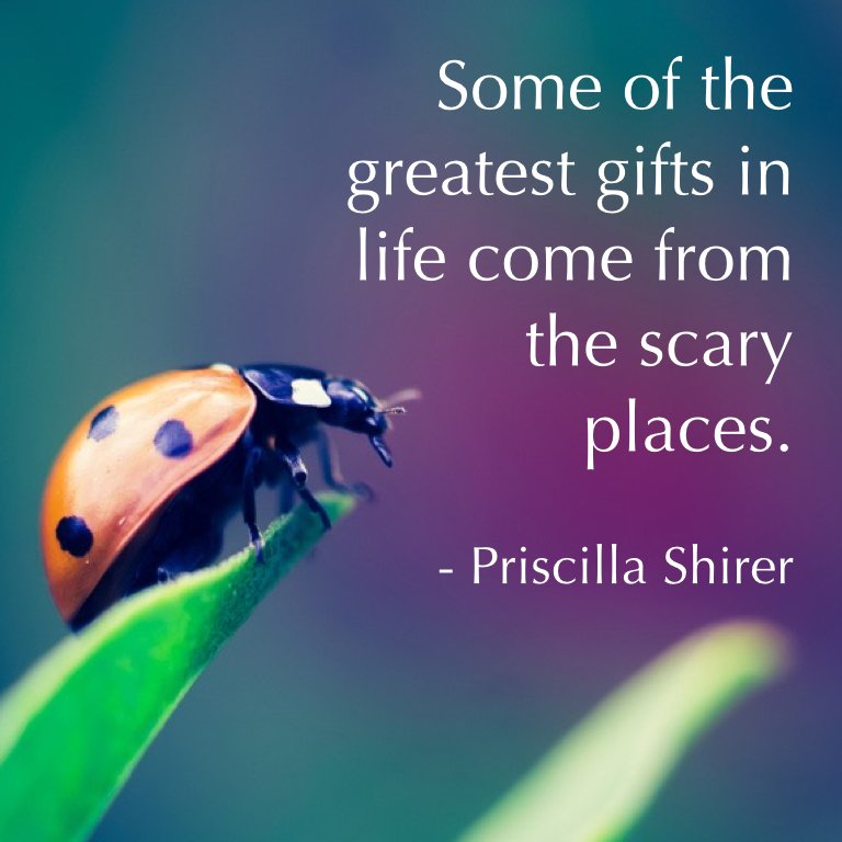 Some of the greatest gifts in life come from the scary places. - Priscilla Shirer